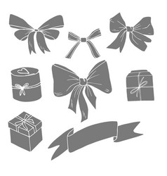 gift boxes and bows set vector image