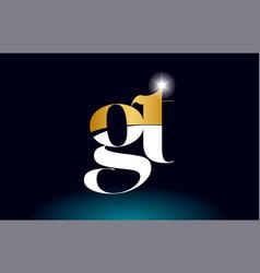 Gold golden alphabet letter gt g t logo vector