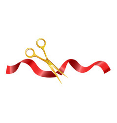 Gold scissors that cut ceremonial red silk ribbon vector