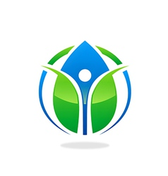 Green ecology blue water drop health people logo vector