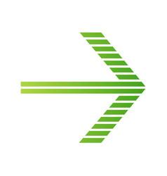 Green striped arrow flat design long shadow color vector