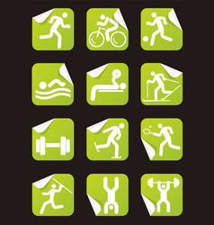 Grreen stickers with fitness sport icons vector