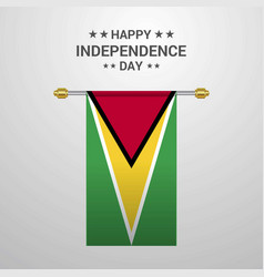 Guyana independence day hanging flag background vector