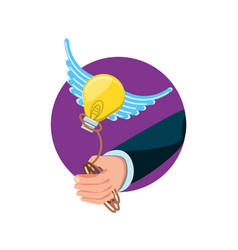 hand with light bulb and rope vector image