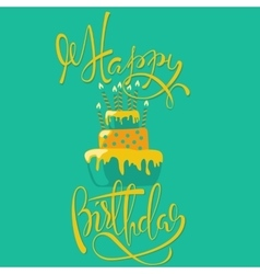 Happy birthday card with cake and candles vector image