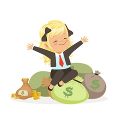 happy blonde girl businesswoman sitting on bags of vector image