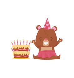happy girl bear sitting on floor near big birthday vector image
