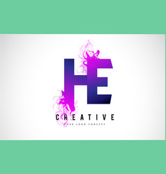 he h e purple letter logo design with liquid vector image