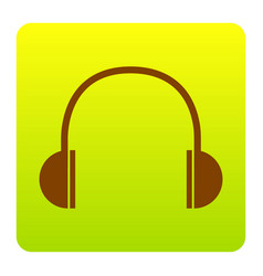 headphones sign brown icon vector image