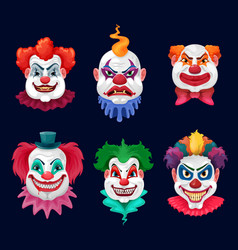 horror clown and scary circus monster faces vector image