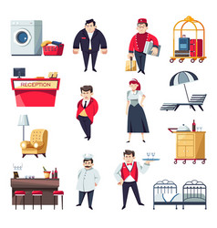hotel personnel and interior furniture vector image