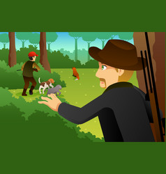 hunter with his dogs hunting a fox vector image