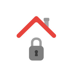 Icon concept closed padlock under house roof vector