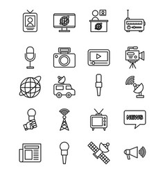 icons set news objects vector image