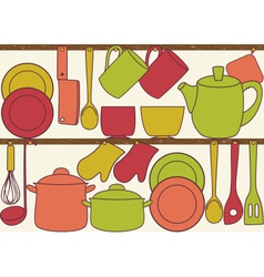 Kitchen utensils on shelves - seamless pattern vector