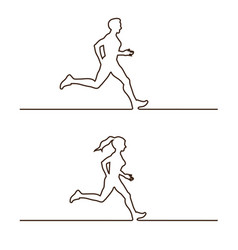 Line silhouettes of runners set of linear vector