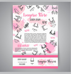Lingerie fashion bra and pantie newsletter vector