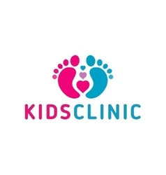 Logo children health clinicheart child feet vector