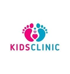 Logo children health clinicheart the child feet vector