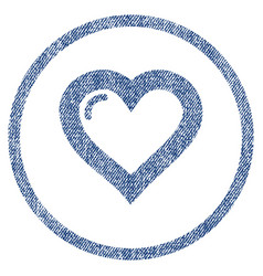 Love heart rounded fabric textured icon vector