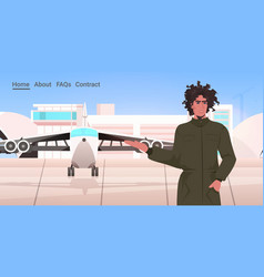 man pilot in uniform standing near plane airport vector image