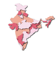 Map of india state wise for info-graphics colorful vector