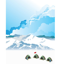Mountaineering base camp at dawn vector