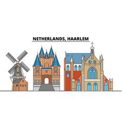 netherlands haarlem city skyline architecture vector image