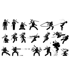 Ninja assassin movement and fighting skills vector