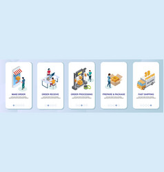 online 3d printing mobile app onboarding screens vector image