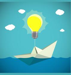 Paper boat hanging on light bulb vector