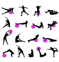 Pilates silhouettes vector