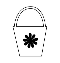 Plastic pot with flowers vector