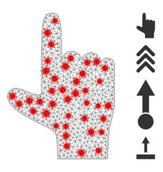 Polygonal network hand pointer up icon with virus vector