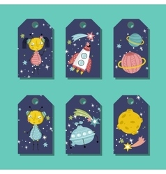 Price Tag with Space Cartoons Set vector