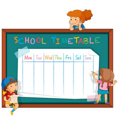 Pupils and blackboard timetable planner vector