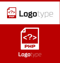 Red php file document download php button icon vector