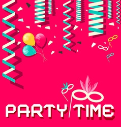Retro Party Time Flat Design with Confetti a vector image