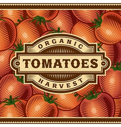 Retro tomato harvest label vector