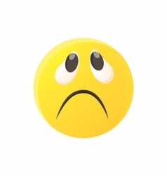 Sad emoticon icon cartoon style vector