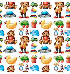 seamless pattern tile cartoon with toys vector image