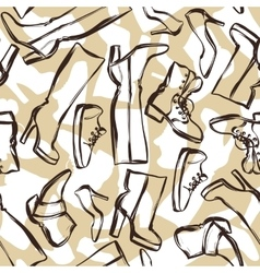Seamless pattern with shoes Hand drawn vector image