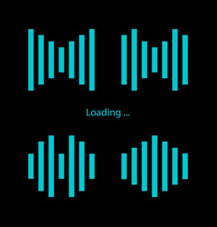 set loading icons black background vector image