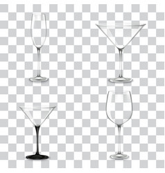 set of cocktail glasses for alcohol vector image vector image