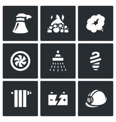 Set of Thermal power plant Icons vector image