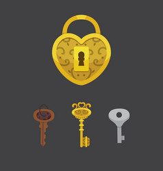 Set of vintage keys and locks vector