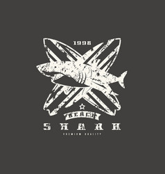 shark surfing emblem graphic design for t-shirt vector image