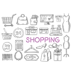 Shopping isolated sketch icons vector image