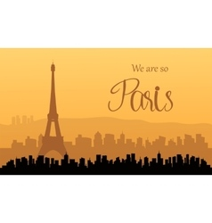 Silhouette of paris at sunset vector image
