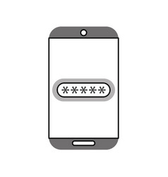 smartphone device with password isolated icon vector image
